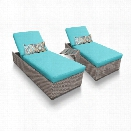 TKC Oasis 3 Piece Patio Chaise Lounge Set in Turquoise