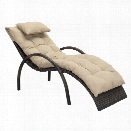 Zuo Eggertz Patio Chaise Lounge in Brown and Beige