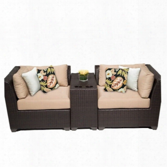 Tkc Barbados 3 Piece Outdoor Wicker Sofa Set In Wheat