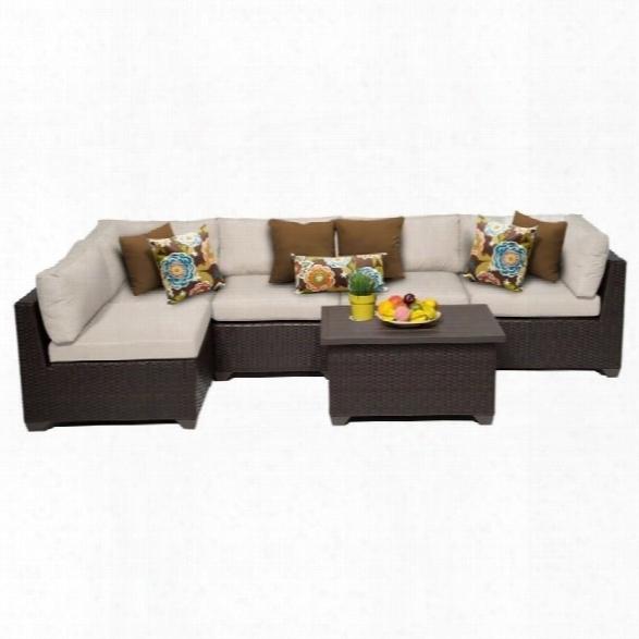 Tkc Belle 6 Piece Outdoor Wicker Sofa Set In Beige