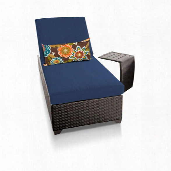 Tkc Classic Patio Chaise Lounge With Side Table In Navy