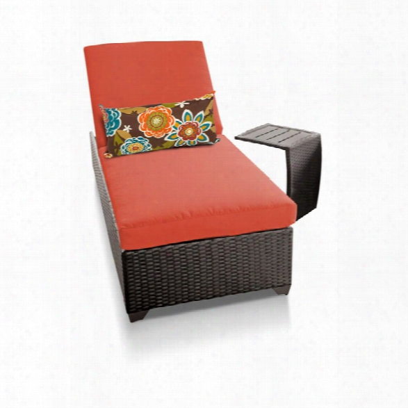 Tkc Classic Patio Chaise Lounge With Side Table In Orange
