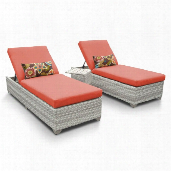 Tkc Fairmont 3 Piece Patio Chaise Lounge Set In Orange