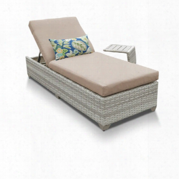 Tkc Fairmont Patio Chaise Lounge With Side Table In Wheat