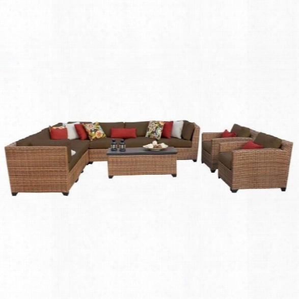 Tkc Laguna 10 Piede Outdoor Wicker Sofa Set In Cocoa