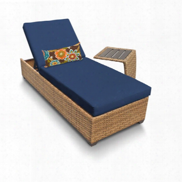 Tkc Laguna Patio Chaise Lounge With Side Table In Navy