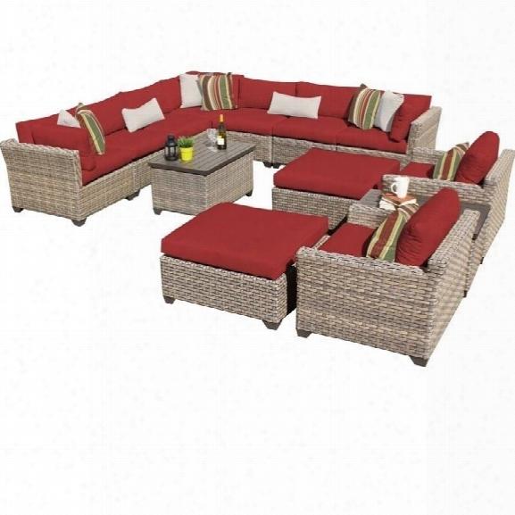 Tkc Monterey 13 Piece Outdoor Wicker Sofa Set In Terracotta