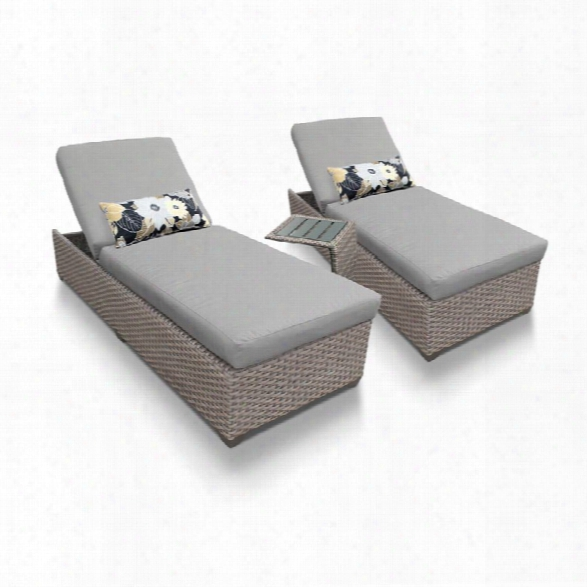 Tkc Oasis 3 Piece Patio Chaise Lounge Set In Gray