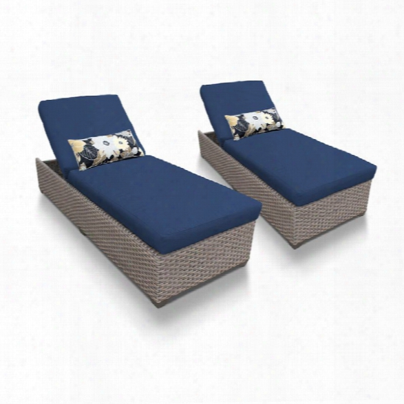 Tkc Oasis Patio Chaise Lou Nge In Navy (set Of 2)