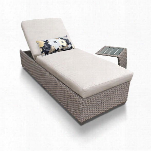 Tkc Oasis Patio Chaise Lounge With Side Table In Beige