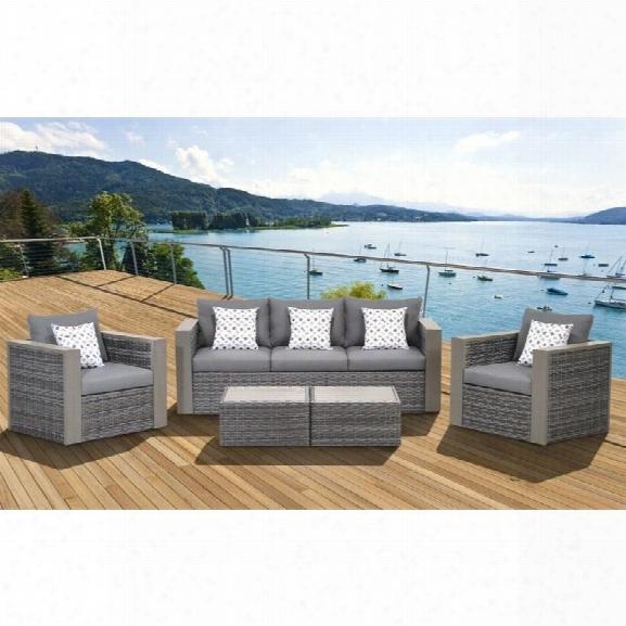 International Home Atlantic 5 Piece Outdoor Sofa Set In Gray