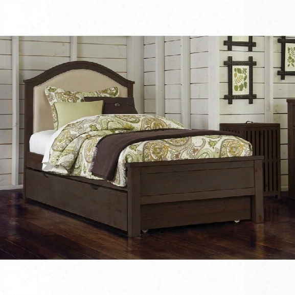 Ne Kids Highlands Bailey Twin Upholstered Bed With Trundle In Espresso