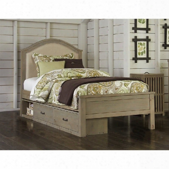 Ne Kids Highlands Bailey Twin Upholstered Storage Bed In Driftwood