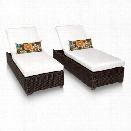 TKC Venice Patio Chaise Lounge in White (Set of 2)