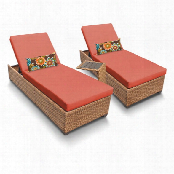Tkc Laguna 3 Piece Patio Chaise Lounge Set In Orange