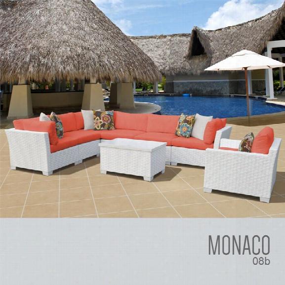 Tkc Monaco 8 Piece Patio Wicker Sofa Set In Orange