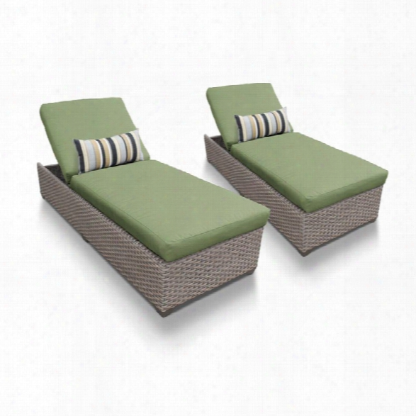 Tkc Oasis Patio Chaise Lounge In Green (set Of 2)