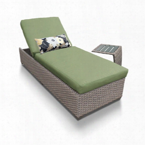 Tkc Oasis Patio Chaise Lounge With Side Table In Green