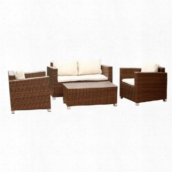 Abbyson Living Hampton 4 Piece Patio Wicker Sofa Set In Brown
