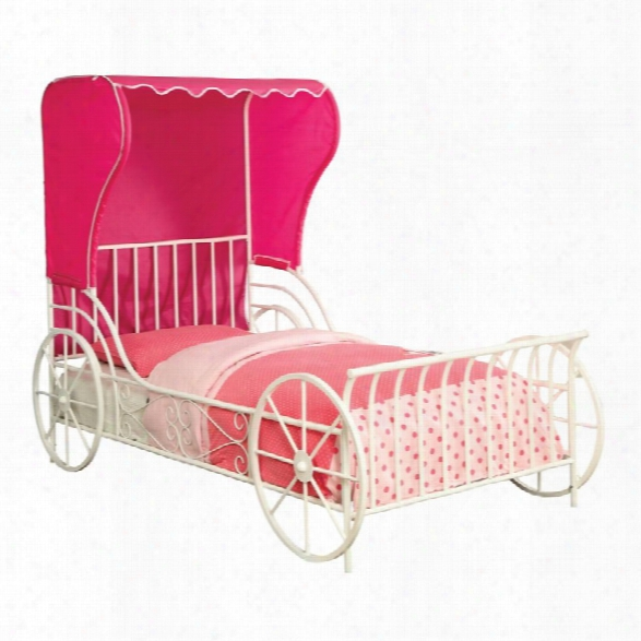 Furniture Of America Ellie Full Metal Carriage Bed In White