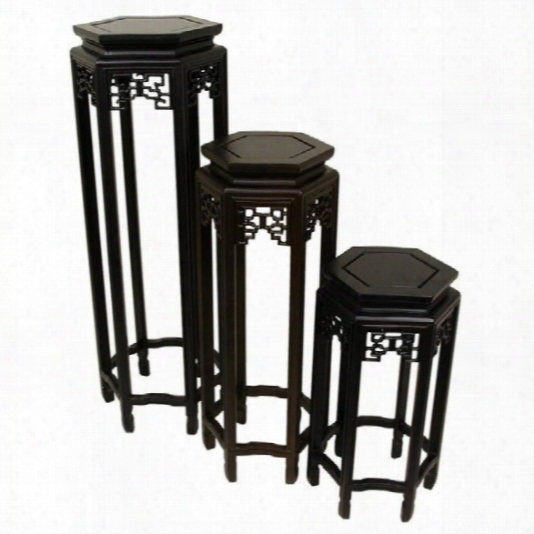 Oriental Furniture Stands In Rosewood (set Of 3)