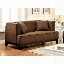 Furniture of America Waylin Tufted Fabric Loveseat in Brown