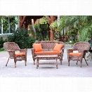 Jeco 4pc Wicker Conversation Set in Honey with Brick Orange Cushions