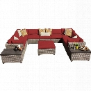 TKC Monterey 12 Piece Outdoor Wicker Sofa Set in Terracotta