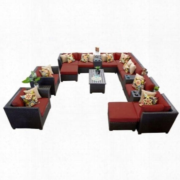 Tkc Barbados 17 Piece Outdoor Wicker Sofa Set In Terracotta