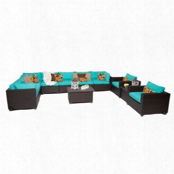 Tkc Belle 11 Piece Outdoor Wicker Sofa Set In Aruba