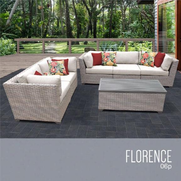 Tkc Florence 6 Piece Patio Wicker Sofa Set In Beige