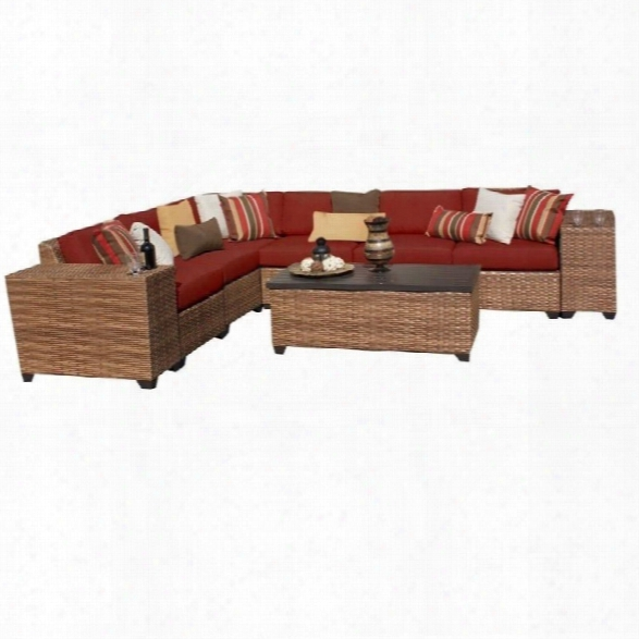 Tkc Laguna 9 Piece Outdoor Wicker Sofa Set In Terracotta