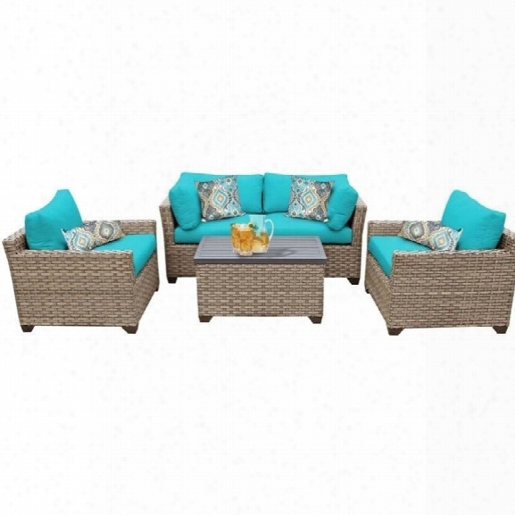 Tkc Monterey 5 Piece Outdoor Wicker Sofa Set In Aruba