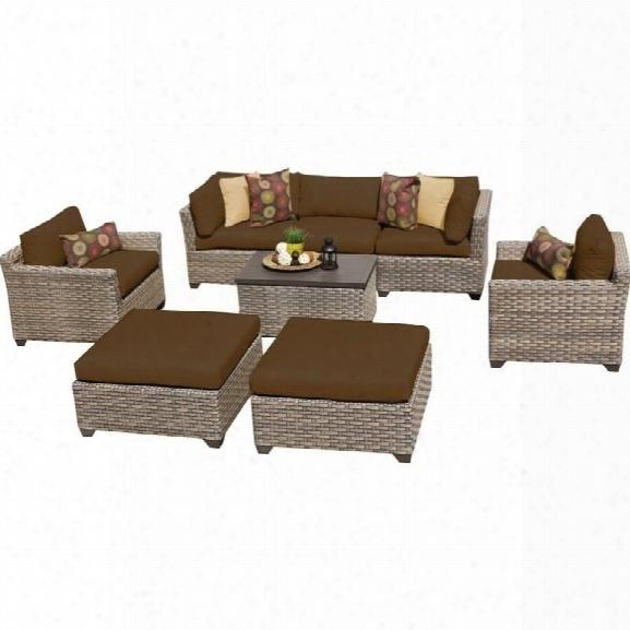 Tkc Monterey 8 Piece Outdoor Wicker Sofa Set In Cocoa