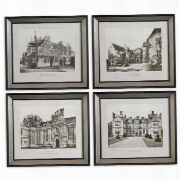 Uttermost English Cottage Framed Wall Art In Black And Silver (set Of 4)