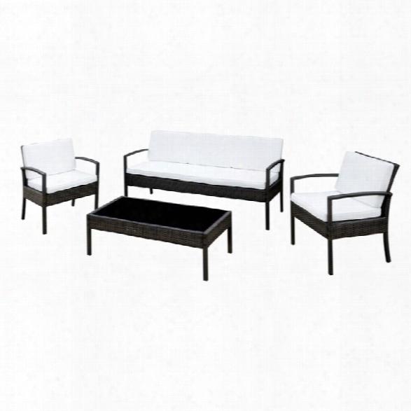 Furniture Of America Chelsey 4 Piece Patio Sofa Set In Espresso