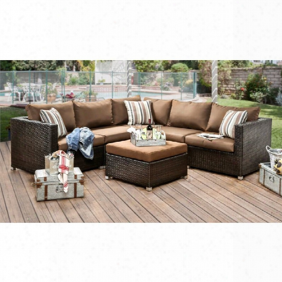 Furniture Of America Nichelle 6 Piece Patio Sectional Set In Brown