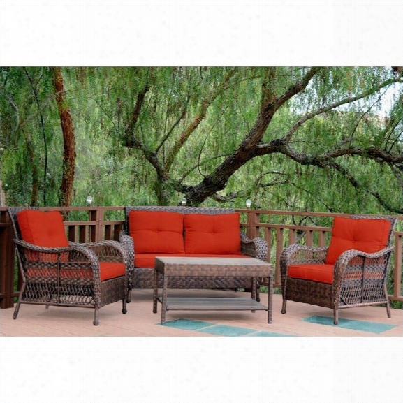 Jeco 4pc Cromwell Wicker Conversation Et In Espresso With Red Cushions
