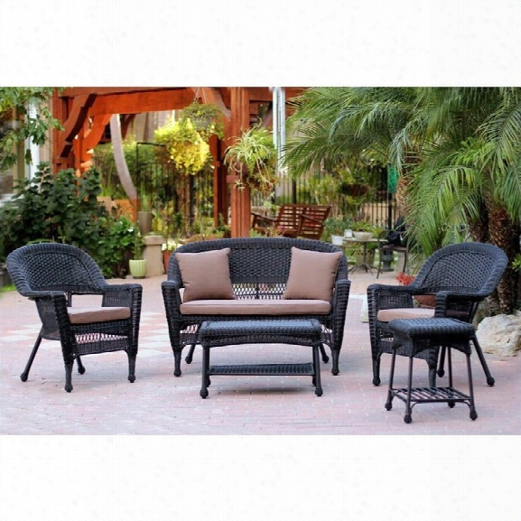 Jeco 5pc Wicker Conversation Set In Black With Brown Cushions