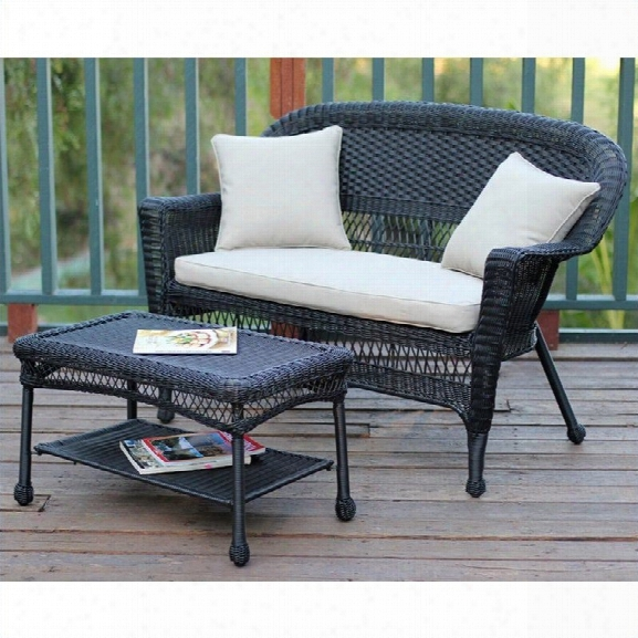 Jeco Wicker Patio Love Seat And Coffee Table Set In Black With Tan Cushion