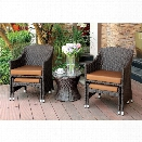 Furniture of America Sommerfield 5 Piece Patio Wicker Conversation Set
