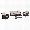 Furniture of America Trenton 4 Piece Patio Sofa Set in Brown