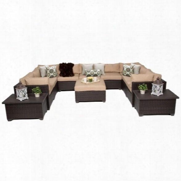 Tkc Belle 12 Piece Outdoor Wicker Sofa Set In Wheat