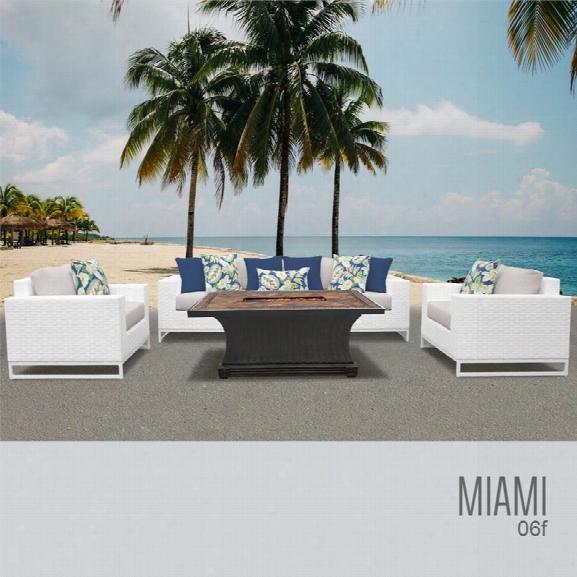 Tkc Miami 6 Piece Patio Wicker Fire Pit Sofa Set In Beige