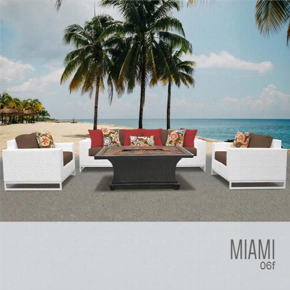 Tkc Miami 6 Piece Patio Wicker Fire Pit Sofa Set In Dark Brown