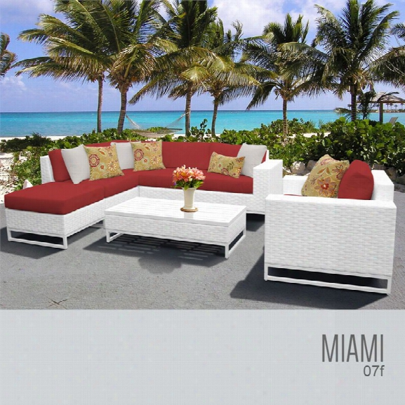Tkc Miami 7 Piece Patio Wicker Sofa Set In Red