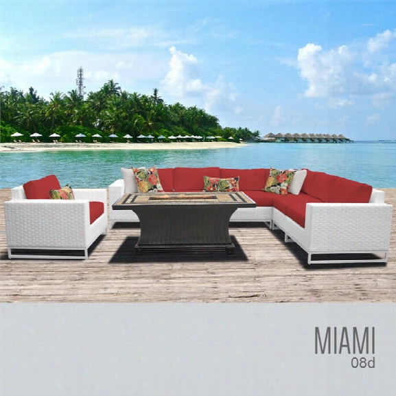 Tkc Miami 8 Piece Patio Wicker Fire Pit Sofa Set In Red