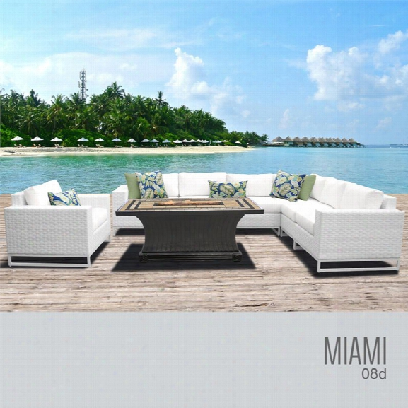 Tkc Miami 8 Piece Patio Wicker Fire Pit Sofa Set In White