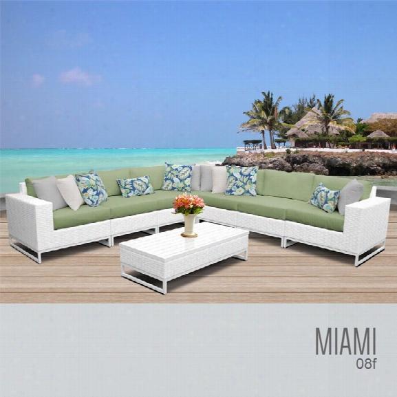 Tkc Miami 8 Piece Patio Wicker Sectional Set In Green