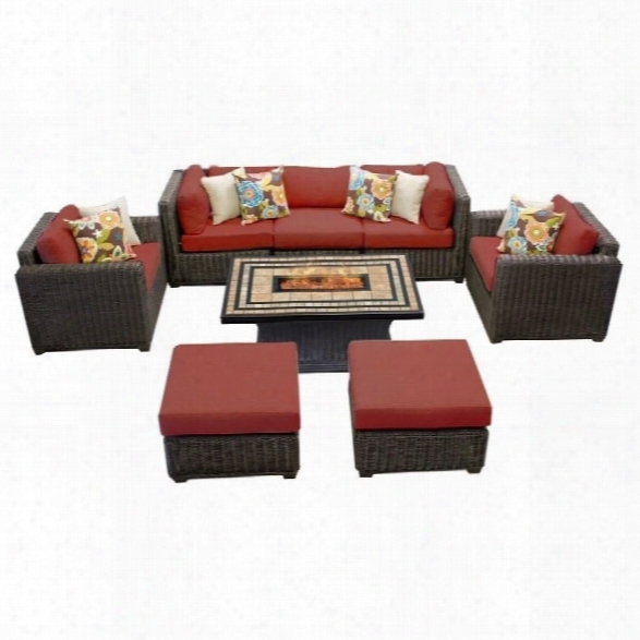 Tkc Venice 8 Piece Outdoor Wicker Sofa Set In Terracotta